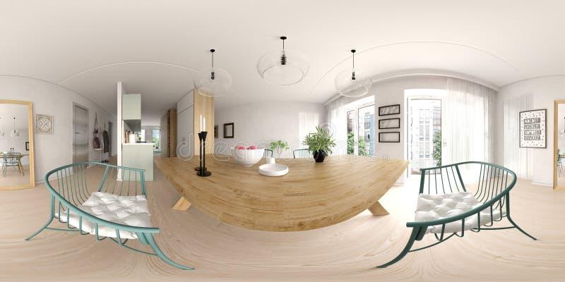 Rappresentazione scandinava di interior design 3D di stile 360 della proiezione sferica di panorama immagini stock