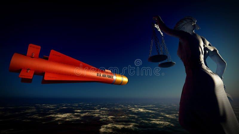 Rappresentazione sottomarina del missile balistico 3d degli Stati Uniti immagine stock