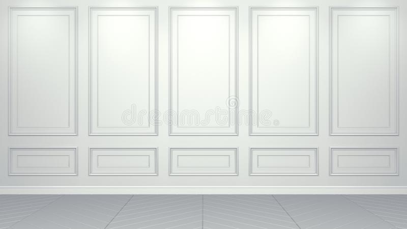 Rappresentazione vivente interna bianca classica del modello 3D dello studio Stanza vuota per il vostro montaggio Copyspace royalty illustrazione gratis