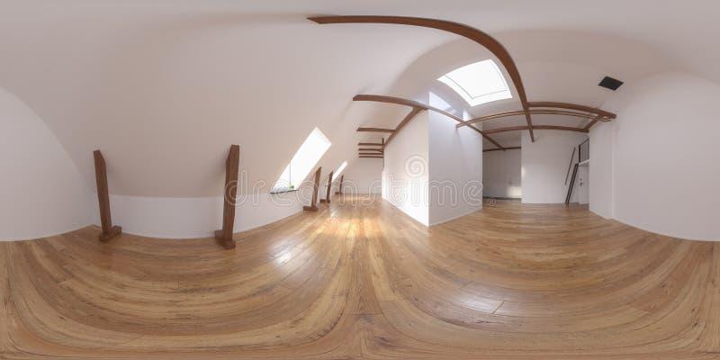 Rappresentazione vuota interna della sala 3D 360 della proiezione sferica di panorama illustrazione di stock