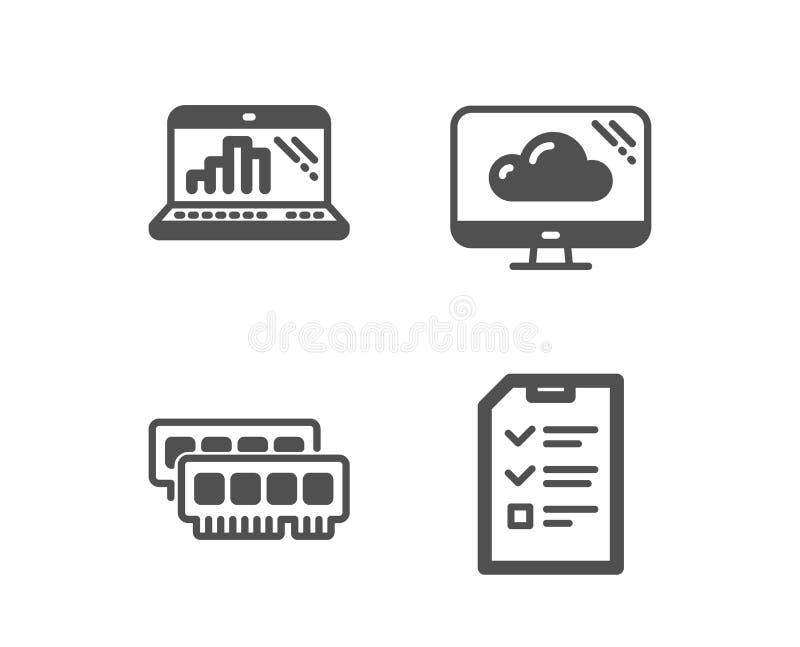 Rappresenti graficamente il computer portatile, lo stoccaggio della nuvola e le icone del Ram Segno di intervista Rapporto mobile illustrazione vettoriale