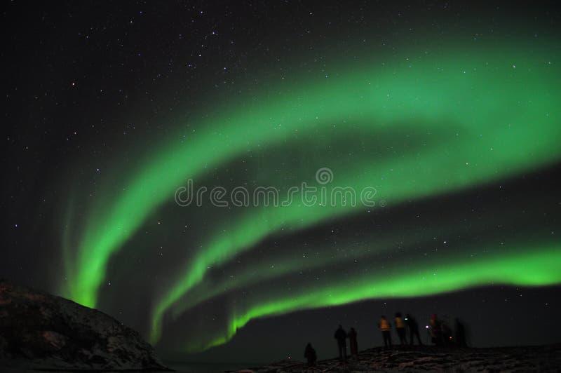 Aurora stupefacente e un gruppo di fotografi immagini stock libere da diritti