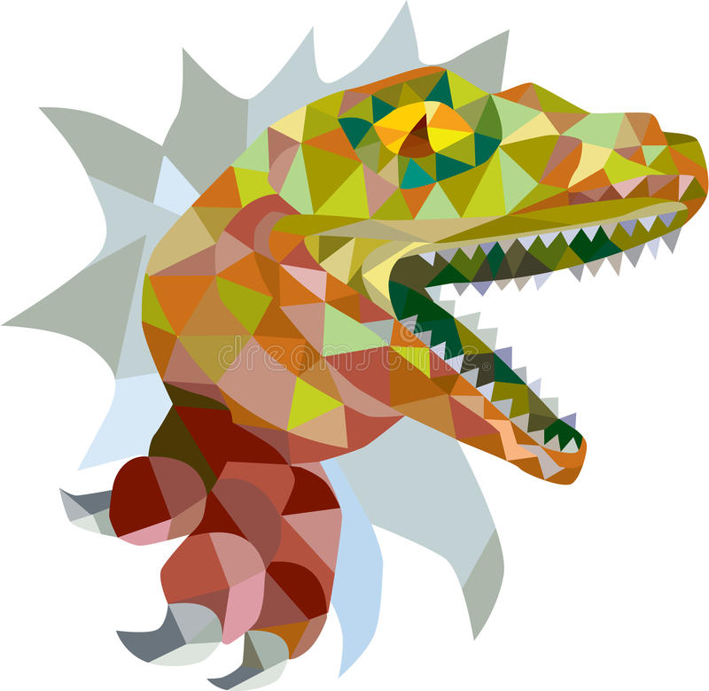 Raptor Breaking Out Low Polygon stock illustration