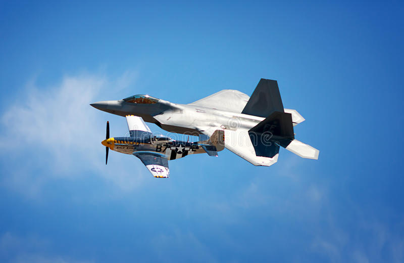 Raptor with P-51 royalty free stock photography