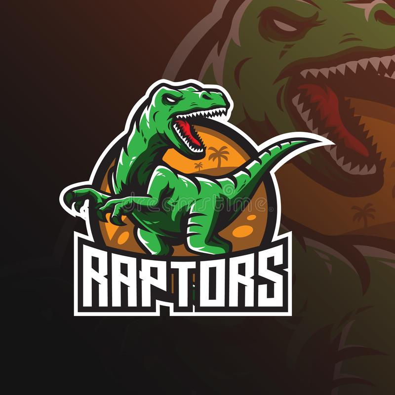 Raptor vector mascot logo design with modern illustration concept style for badge, emblem and tshirt printing. angry dinosaur. Illustration for sport and esport stock illustration