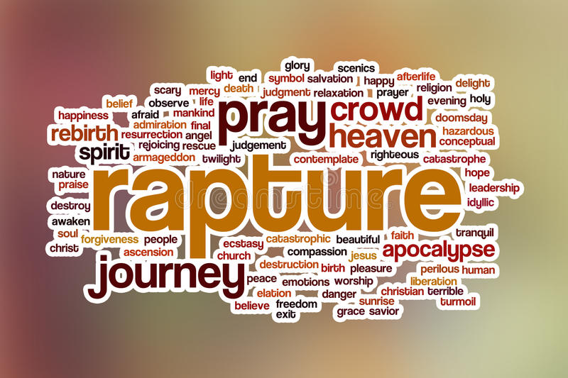 Rapture word cloud with abstract background stock photography
