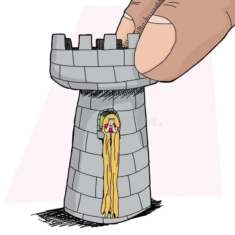 Rapunzel en pedazo del grajo ilustración del vector