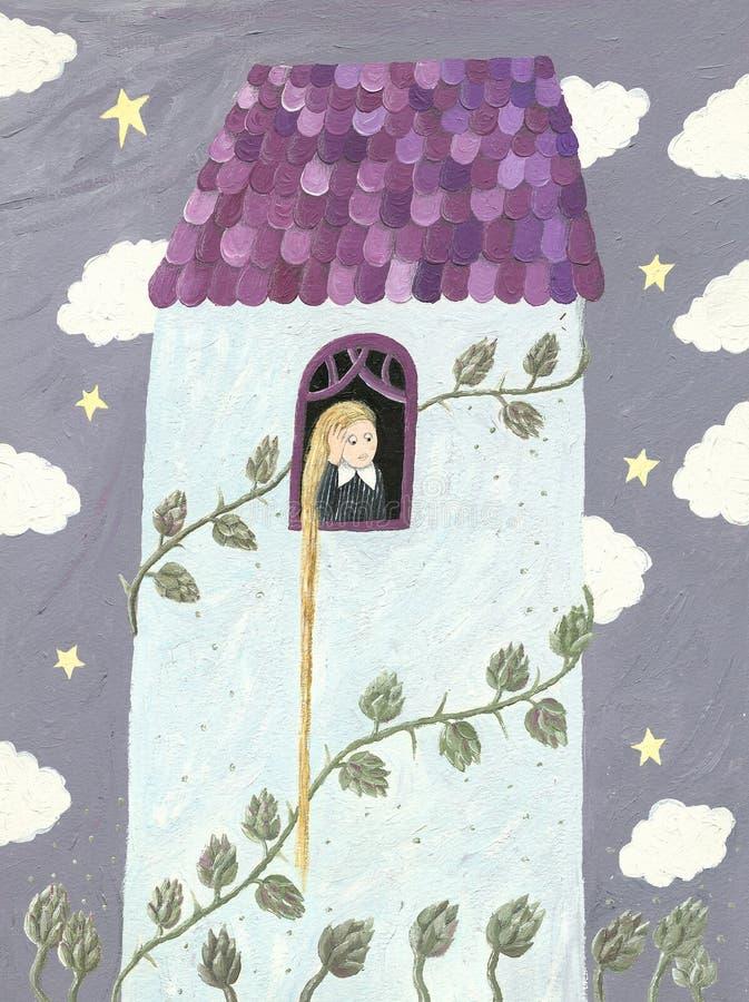 Rapunzel o ragazza che osserva attraverso la finestra