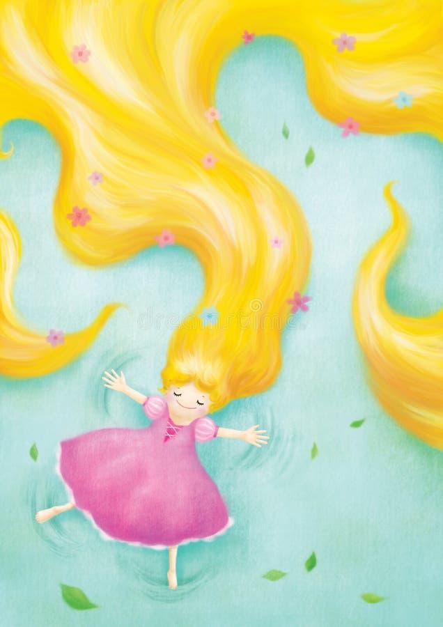 Rapunzel que se relaja coloca en hierba stock de ilustración