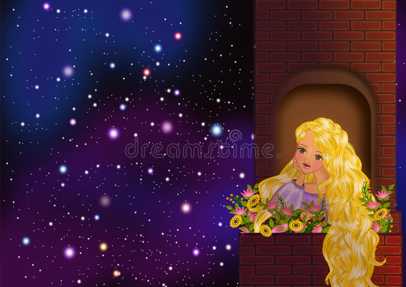 Rapunzel staring at the stars. Princess Rapunzel string the night sky full of stars