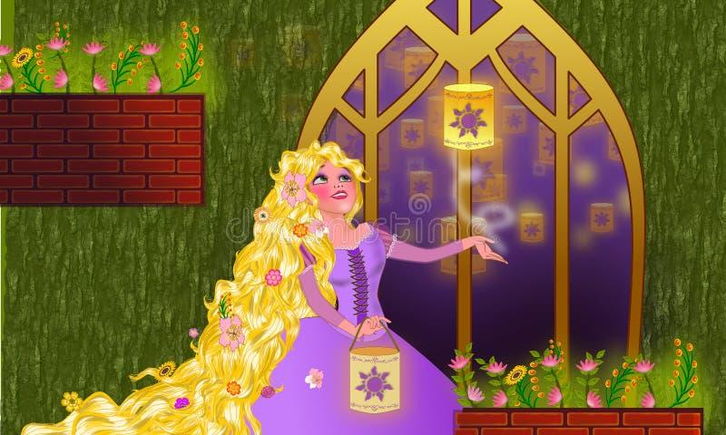 Rapunzel steht in ihrem Fenster