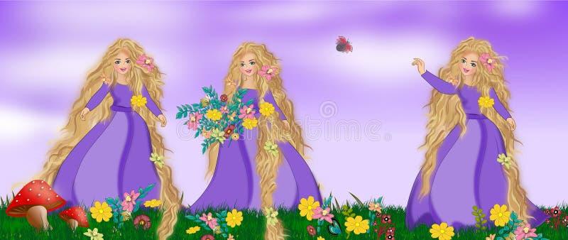 Rapunzel. In velvet sky and meadow illustrations