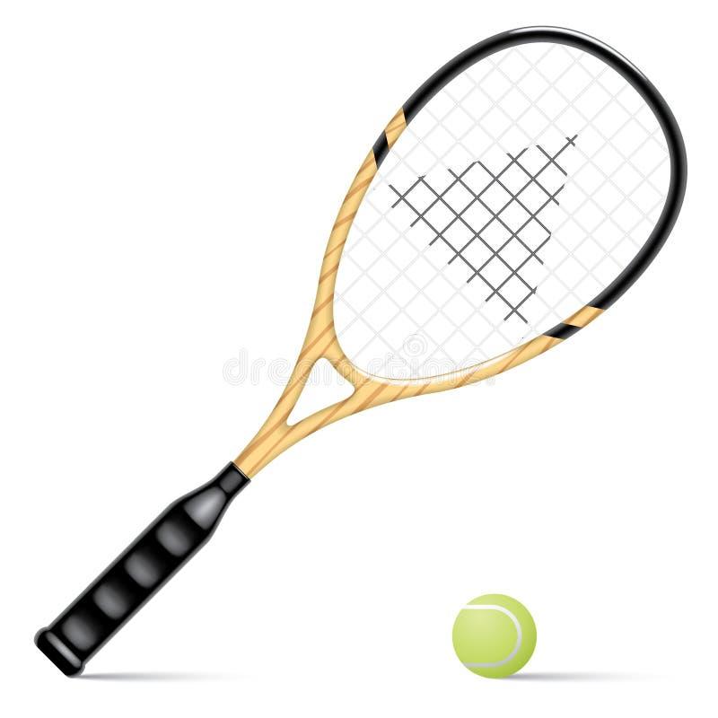 Raqueta y una pelota de tenis stock de ilustración