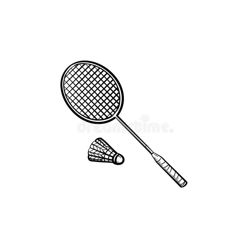 Raquete de badminton e ícone tirado mão da peteca ilustração stock