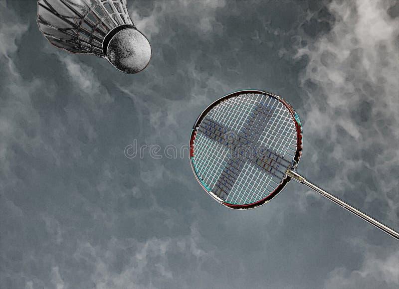 Raquete de badminton e azul-céu abstratos coloridos da peteca ilustração do vetor