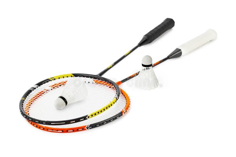 Raquete de Badminton e shuttlecock imagens de stock royalty free
