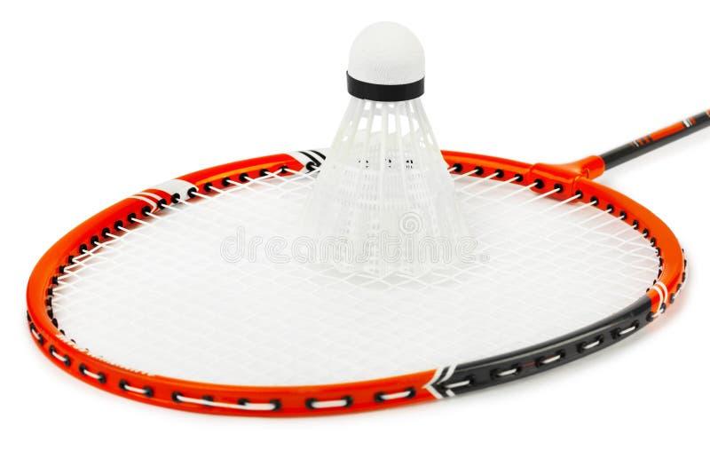 Raquete de Badminton e shuttlecock imagem de stock