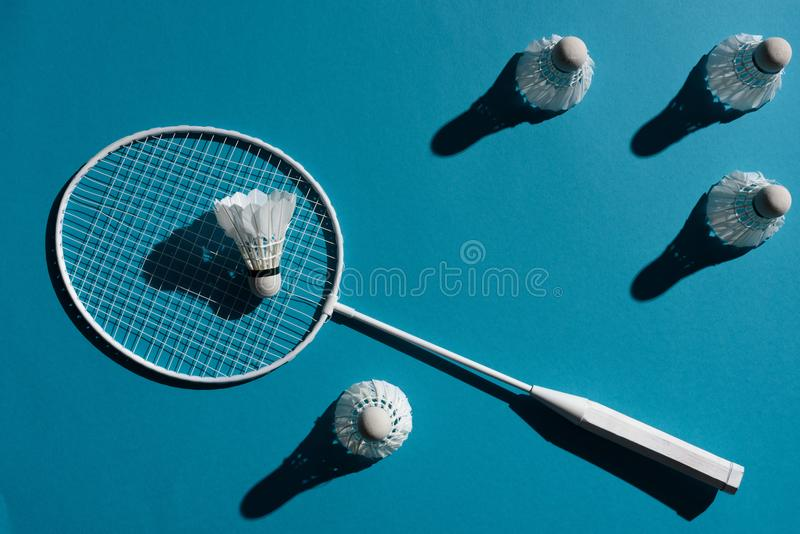 Raquete de Badminton e shuttlecocks fotos de stock royalty free