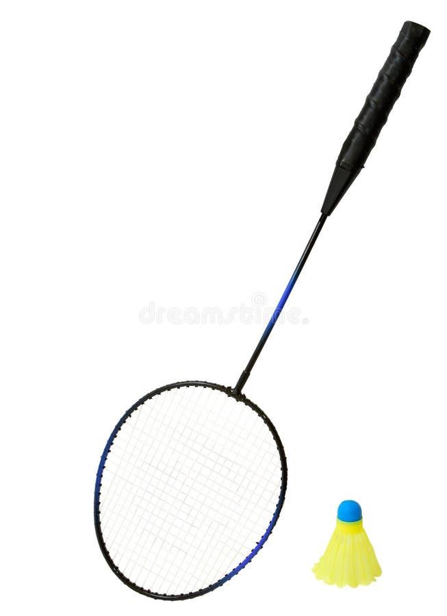 Raquete de Badminton e um passarinho foto de stock royalty free