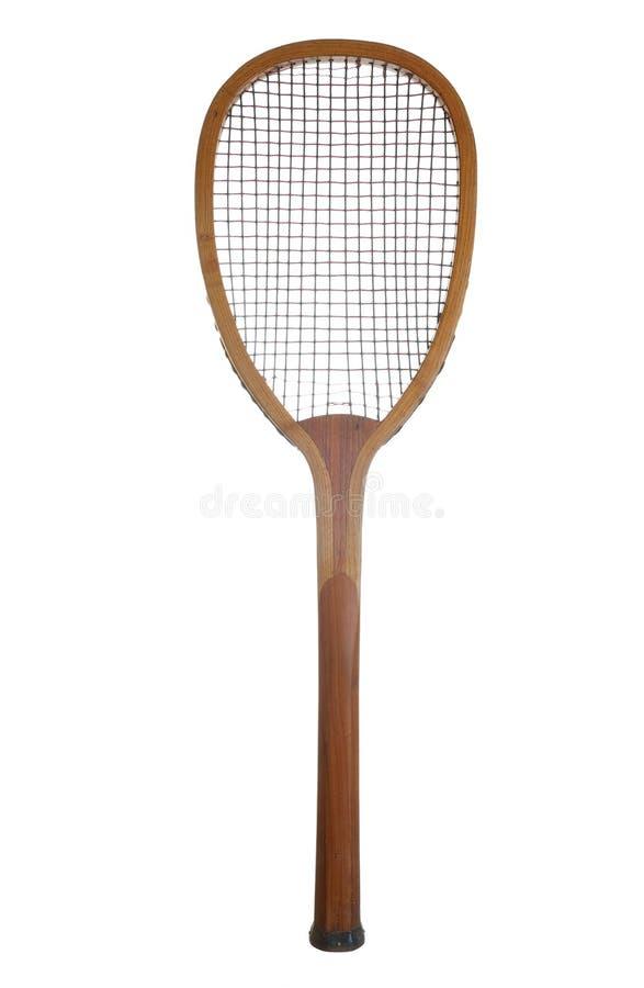 Raquete de tênis de madeira velha imagem de stock royalty free