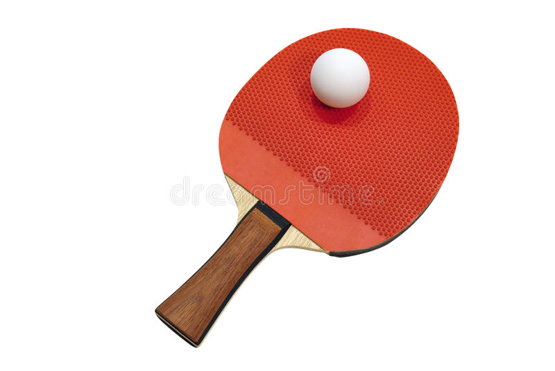Raquete de tênis de mesa com uma bola imagem de stock