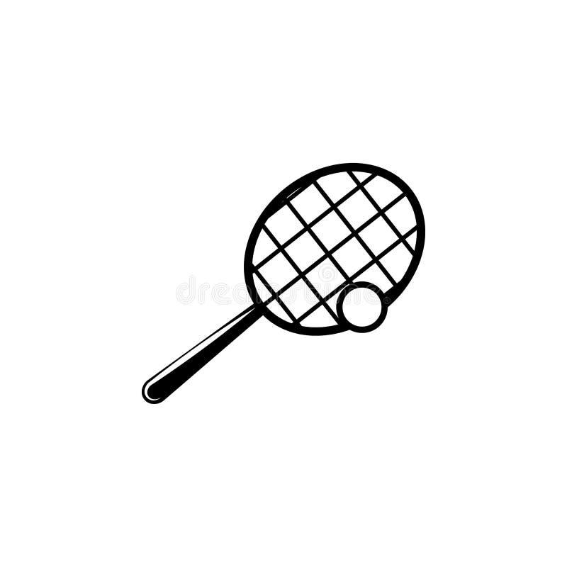 Raquete de tênis e ícone da bola Elemento do ícone do esporte para apps móveis do conceito e da Web A raquete de tênis e o ícone  ilustração do vetor