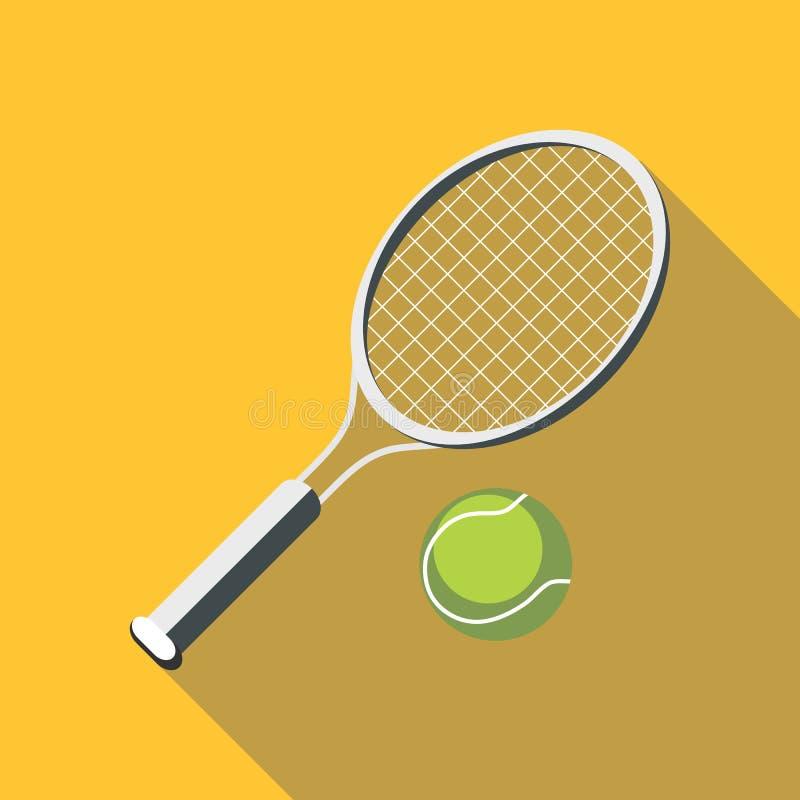 Raquete de tênis e ícone da bola, estilo liso ilustração royalty free