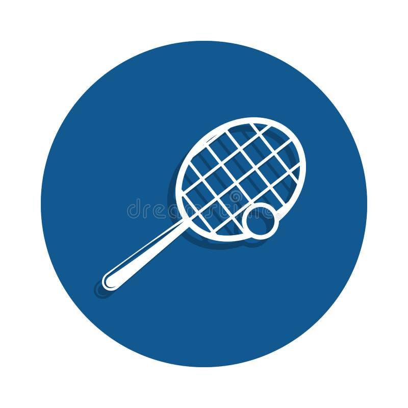 raquete de tênis e ícone da bola no estilo do crachá Um do ícone da coleção do esporte pode ser usado para UI, UX ilustração stock