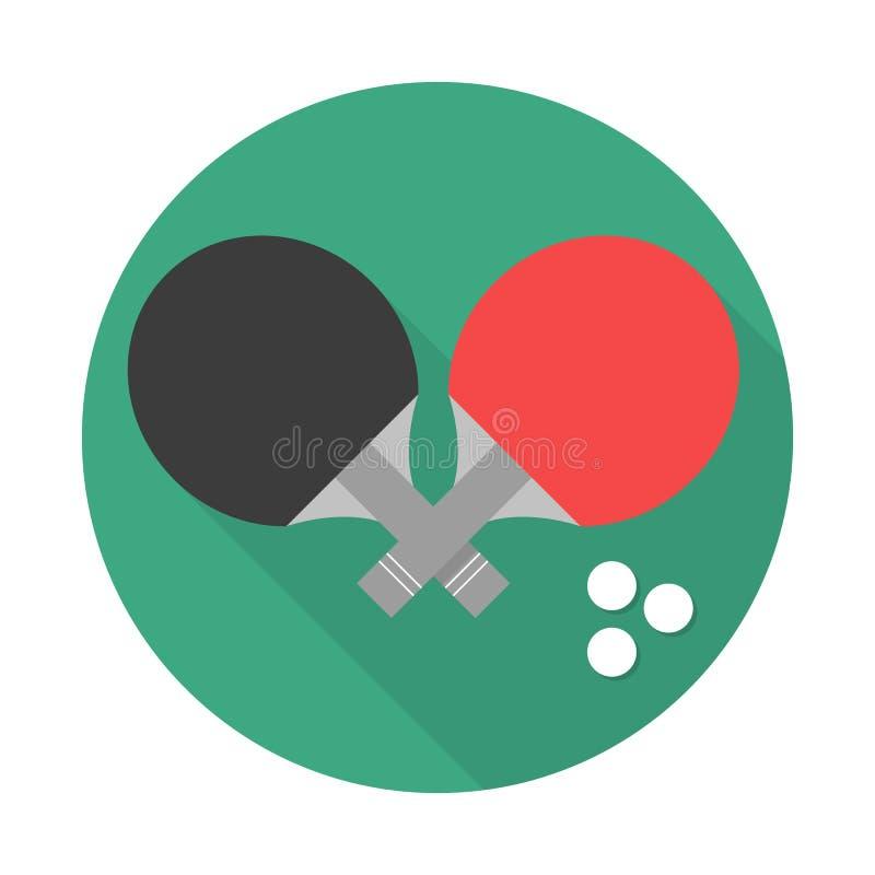Raquete de tênis de mesa com ícone da bola no estilo liso Ilustração do vetor do símbolo do esporte ilustração stock