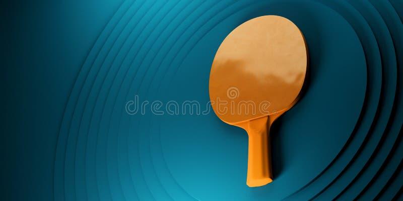 Raquete do pong do tênis de mesa ou do sibilo projeto do cartaz do competiam na ilustração abstrata do backgroung 3d dos círculos