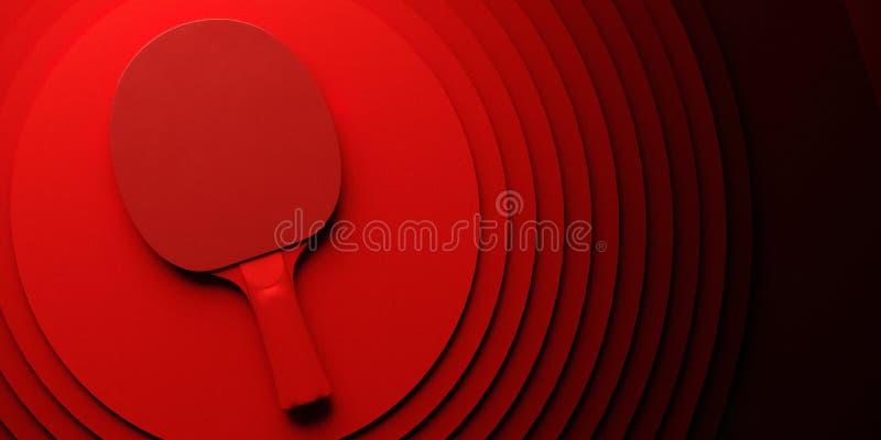 Raquete do pong do tênis de mesa ou do sibilo projeto do cartaz do competiam na ilustração abstrata do backgroung 3d dos círculos foto de stock royalty free