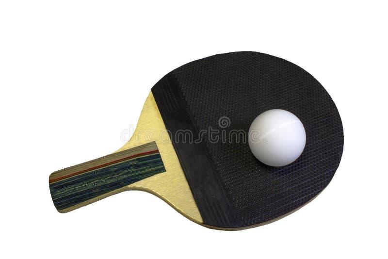 Raquete e bola pretas do tênis de mesa fotos de stock royalty free