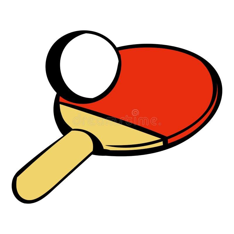 Raquete para jogar o ícone do tênis de mesa, desenhos animados do ícone ilustração do vetor
