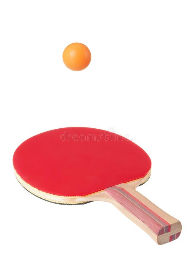 Raquete para o ping-pong e a esfera fotografia de stock