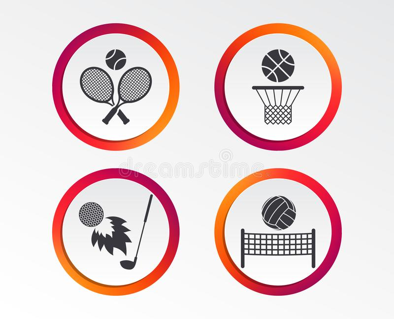 Raquetes de tênis com bola Cesta do basquetebol ilustração do vetor