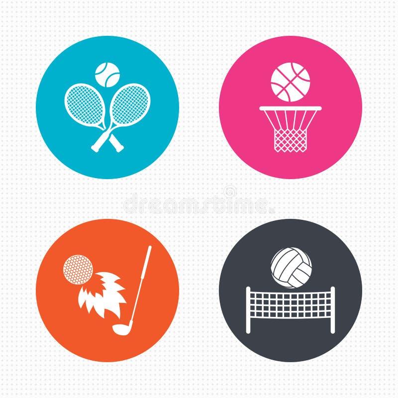 Raquetes de tênis com bola Cesta do basquetebol ilustração stock