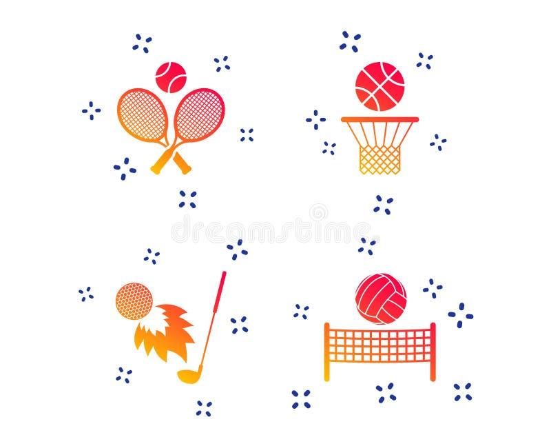 Raquetes de tênis com bola Cesta do basquetebol Vetor ilustração royalty free