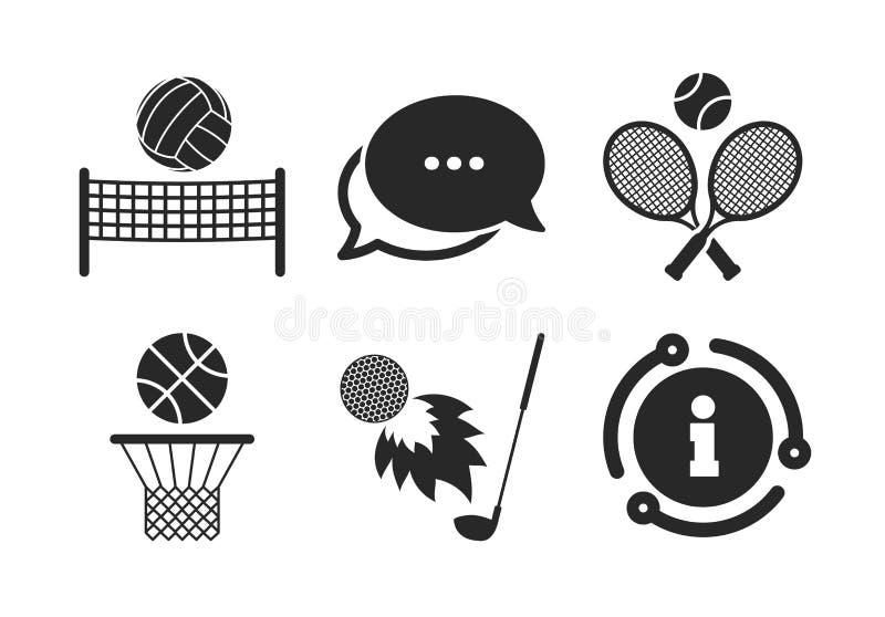 Raquetes de t?nis com bola Cesta do basquetebol Vetor ilustração stock