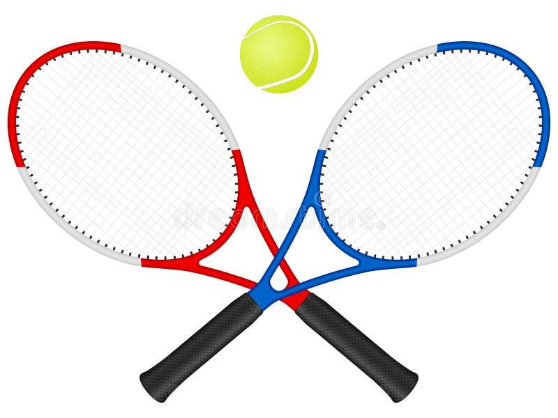 Raquetes e esfera de tênis ilustração do vetor