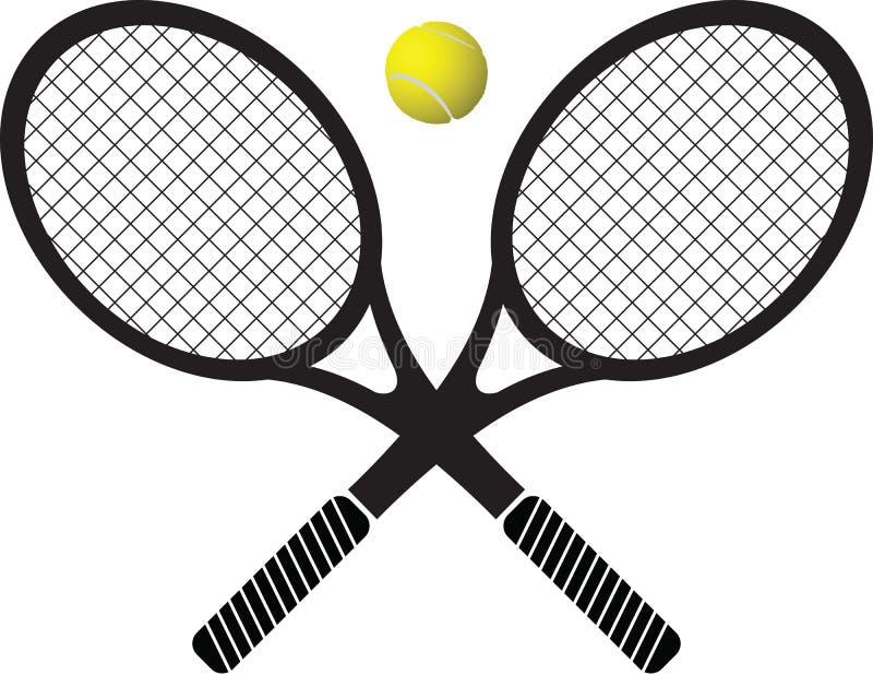 Raquetes e esfera de tênis foto de stock royalty free