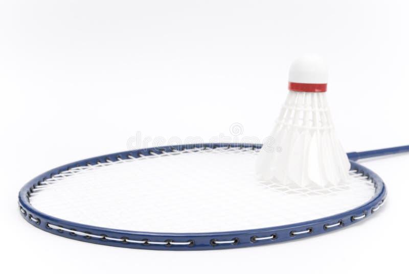 Raquette de badminton avec la navette image stock