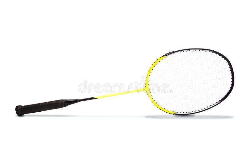 Raquette de badminton jaune de graphite d'isolement sur le blanc images stock