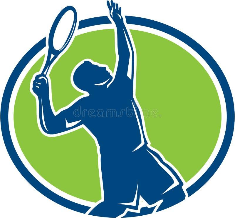 Raquette de joueur de tennis servant rétro ovale illustration libre de droits