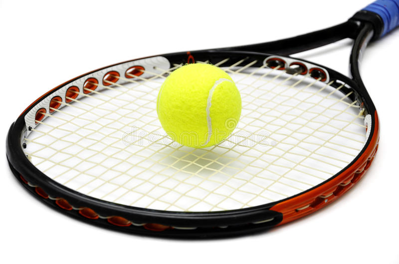 Raquette de tennis et BAL images stock