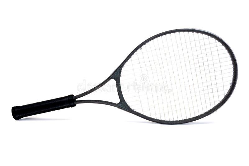 Raquette de tennis noire utilisée de graphite d'isolement sur le fond blanc photos stock