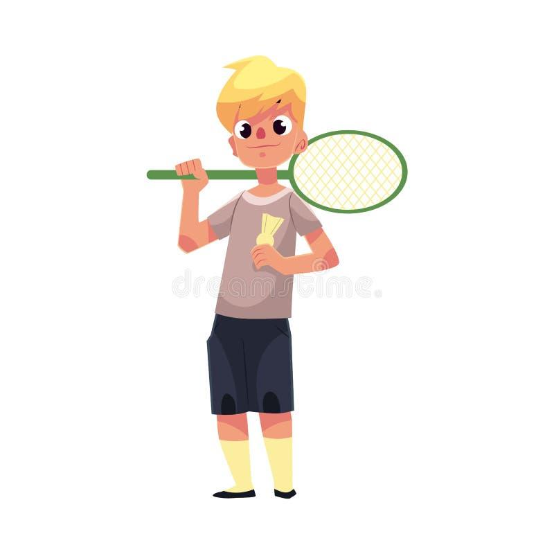 Raquette et birdie de badminton halding de garçon caucasien adolescent illustration stock