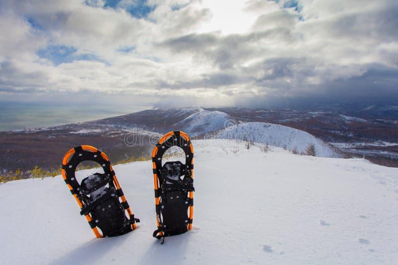 Raquettes professionnelles dans la neige sur le fond de montagnes d'hiver image libre de droits