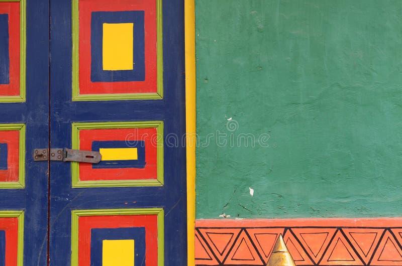 Raquira -广场的一个coloful房子- Raquira村庄,哥伦比亚, 2015年 库存照片