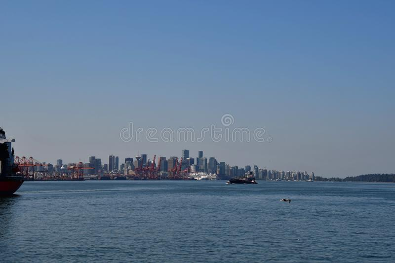 A rare angle view of Vancouver Downtown from Harbourview park. royalty free stock photography