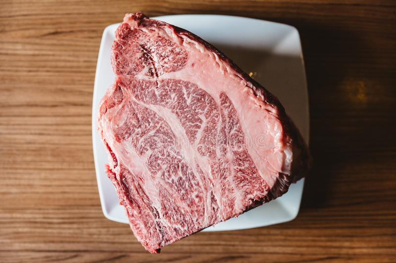 Rare authentic A5 Grade Japanese Wagyu beef Filet Mignon with high-marbled texture. Boneless and juicy for making Shabu and sushi stock images